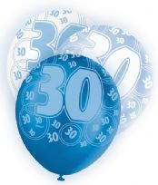 Blue Glitz Age 30 Latex Balloons (6)